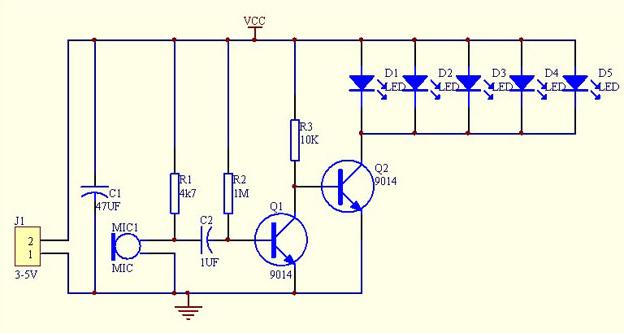 声控led电路原理